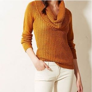 Anthropologie Cowl Neck Waffle Knit Sweater
